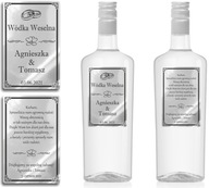 Naklejki Etykiety Wódka Weselna srebrne chrom x100