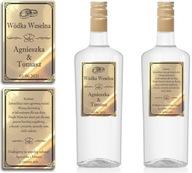 Naklejki Etykiety Wódka Weselna złote chrom 100szt
