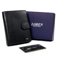 Skórzany portfel męski Loren modny antykradzieżowy