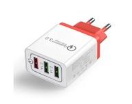 Ładowarka USB +QC3 3 gniazda USB czerwony wtyk