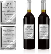 Naklejki Etykiety Wino Weselne srebrne chrom x 100