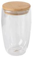 Kubek szklanka podwójne ścianki z pokrywką 450ml