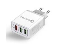 Ładowarka USB z gniazdem QC3 18W białoszary wtyk