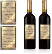 Naklejki Etykiety Wino Weselne złote chrom 100szt