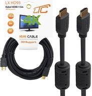KABEL PRZEWÓD 7,5M HDMI HDMI V2.0 HD 3D 4K FULL HD