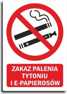 Naklejka ZAKAZ PALENIA TYTONIU I E-PAPIEROSÓW 28cm