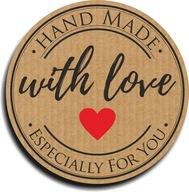 Naklejki HANDMADE WITH LOVE FOR YOU 45mm 100szt