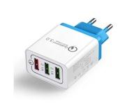 Ładowarka 3-portowa QuickCharge3 USB niebieski wty