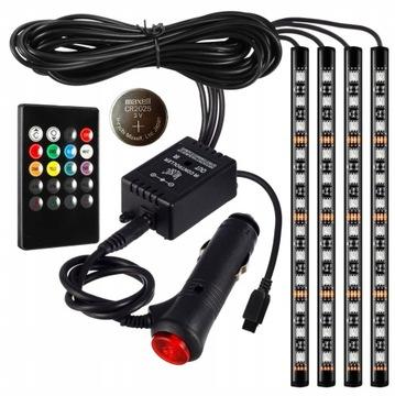 освещение интерьера кабины автомобиля 48 светодиод led rgb пульт управления - фото