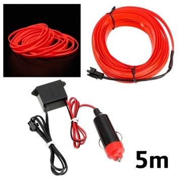 5m оптоволоконный кабель el wire светодиод led шлейф ремень ambient - фото