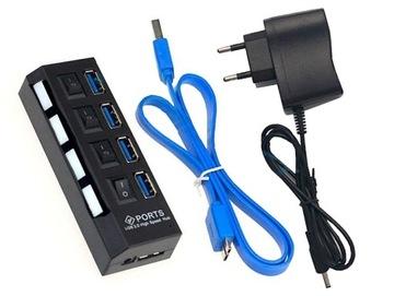 HUB USB 3.0 АКТИВНЫЙ РАЗВЕТВИТЕЛЬ 4 порта + блок питания доставка товаров из Польши и Allegro на русском
