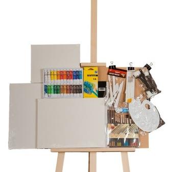 МЕГА БОЛЬШОЙ НАБОР художника: Мольберт, краски пастели. доставка товаров из Польши и Allegro на русском