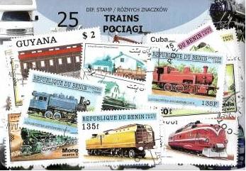 Набор из 25 почтовых марок - ПОЕЗДА доставка товаров из Польши и Allegro на русском