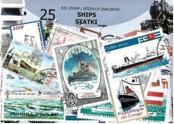 Набор из 25 почтовых марок - КОРАБЛИ доставка товаров из Польши и Allegro на русском