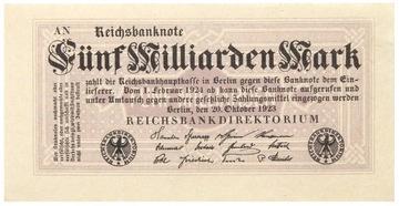 Германия БАНКНОТА - 5 Миллиардов Марок 1923 - Ro: 120 доставка товаров из Польши и Allegro на русском