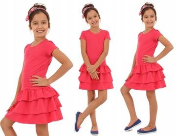 КРАСОЧНОЕ платье с тремя falbanami - 146 КОРАЛЛ доставка товаров из Польши и Allegro на русском