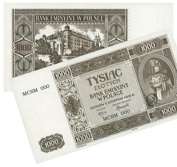 k13 Купюра 1000 злотых 01.08.1941 ICQ копия доставка товаров из Польши и Allegro на русском