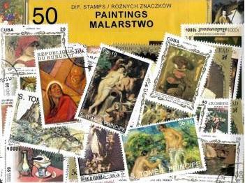 Набор из 50 почтовых марок - ЖИВОПИСЬ доставка товаров из Польши и Allegro на русском