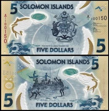 ~ Соломоновы острова 5 долларов, P-New 2019 Полимер UNC доставка товаров из Польши и Allegro на русском
