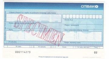 czek specimen Citibank (Poland) SA - CITI1 доставка товаров из Польши и Allegro на русском