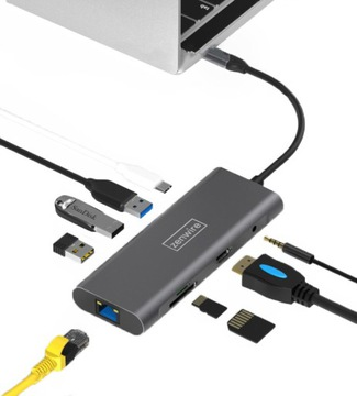 АДАПТЕР HUB 9W1 USB-C 3.0 HDMI 4K/RJ-45/SD/ДЖЕК/PD доставка товаров из Польши и Allegro на русском