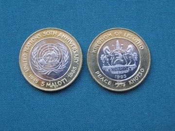 Лесото 5 малоти 50 лет UN Bimetal UNC Promotion  доставка товаров из Польши и Allegro на русском