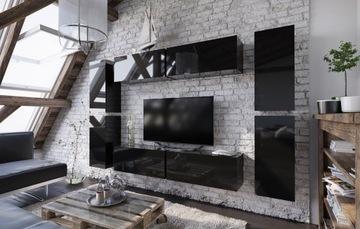 Стенка FORTE 2 черный высокий блеск RTV доставка товаров из Польши и Allegro на русском