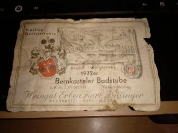 Bernkasteler Badstube 1972 Бирка Посмотреть Стоит! доставка товаров из Польши и Allegro на русском