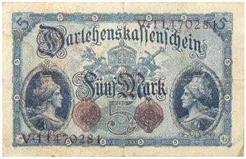 Германия - КУПЮРА - 5 Марок 1914 - Ro: 48 доставка товаров из Польши и Allegro на русском