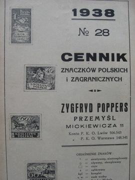 Прайс-лист марки Poppers , Подумай 1938 доставка товаров из Польши и Allegro на русском