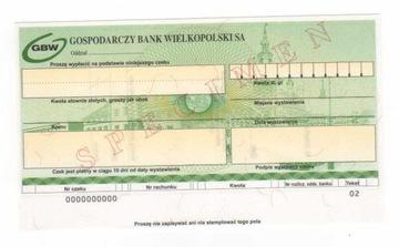 czek specimen Gospodarczy Bank Wielkopolski GBW5 доставка товаров из Польши и Allegro на русском