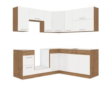 Маленький угловой кухонный гарнитур OVIDO *белый блеск* доставка товаров из Польши и Allegro на русском