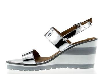 Srebrne sandały skórzane na koturnie J W 37 lekkie