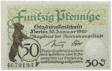 Германия - Берлин - NOTGELD - 50 Pfennig 1920 доставка товаров из Польши и Allegro на русском