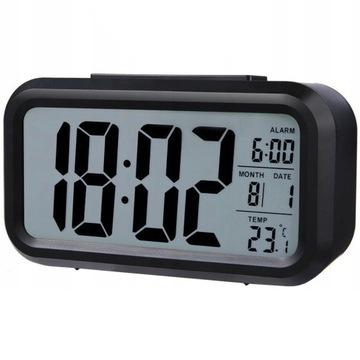 ЧАСЫ будильник термометр +АВТОМАТИЧЕСКОЕ включение ПОДСВЕТКИ доставка товаров из Польши и Allegro на русском