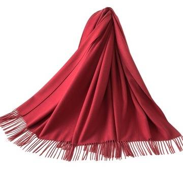 КРАСИВЫЙ БОЛЬШОЙ ПЛАТОК шарф ПАСТЕЛЬ кашемировый БОРДОВЫЙ доставка товаров из Польши и Allegro на русском