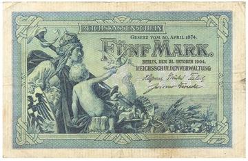 Германия - КУПЮРА - 5 Марок 1904 - ДРАКОН - Ro: 22 доставка товаров из Польши и Allegro на русском