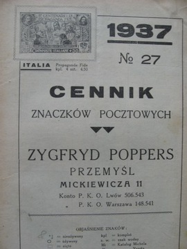 Прайс-лист марки Poppers , Подумай 1937 доставка товаров из Польши и Allegro на русском