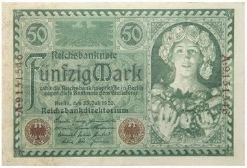 Германия - КУПЮРА - 50 Марок 1920 - Ro: 66 доставка товаров из Польши и Allegro на русском