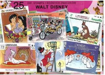 (Набор из 25 почтовых марок - УОЛТ ДИСНЕЙ) доставка товаров из Польши и Allegro на русском