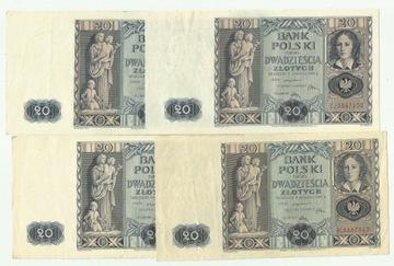q 20 злотых 1936 различные серии хорошие состояния, e-kriss доставка товаров из Польши и Allegro на русском