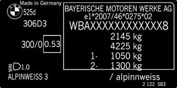 Заводская табличка каждой модели BMW  доставка товаров из Польши и Allegro на русском