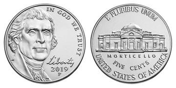 5 цент США (2019) - Томас Джефферсон, монетный двор D доставка товаров из Польши и Allegro на русском
