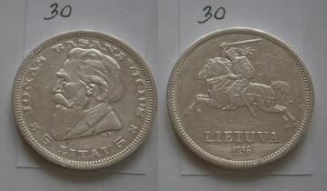 5 ЛИТВА из 1936 г. ЛИТВА серебро. Распродажа доставка товаров из Польши и Allegro на русском