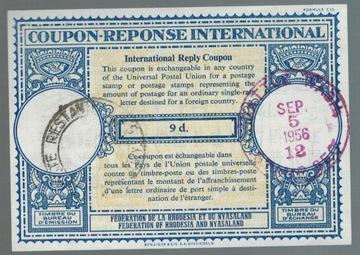 Rodezja 1956 IRC Международный купон ответа доставка товаров из Польши и Allegro на русском
