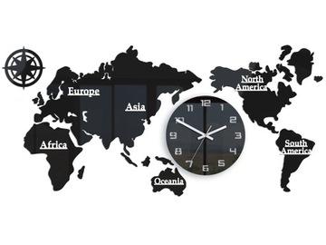 Часы Карта Мира 110x55 Большой, современный бесшумный 3D доставка товаров из Польши и Allegro на русском
