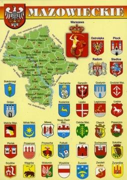 WOJEWÓDZTWO MAZOWIECKIE MAPKA HERBY WR803 10 szt. доставка товаров из Польши и Allegro на русском