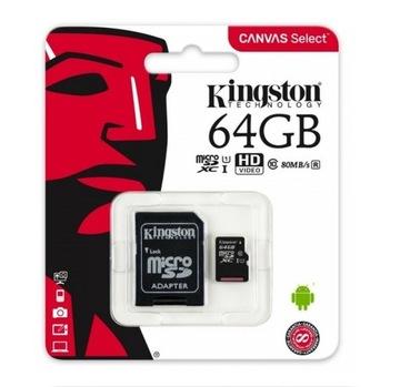 KINGSTON KARTA MICROSD 64GB MICRO CL10 ADAPTER SD