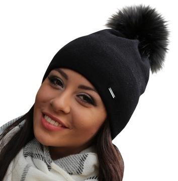 ЧЕРНАЯ Теплая шапка, супер качество два слоя A13 доставка товаров из Польши и Allegro на русском