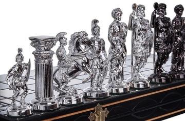 ШАХМАТЫ РИМСКИЕ ДЕРЕВЯННЫЕ СЕРЕБРИСТО-ЧЕРНЫЕ ВЫСОКАЯ 42cm доставка товаров из Польши и Allegro на русском